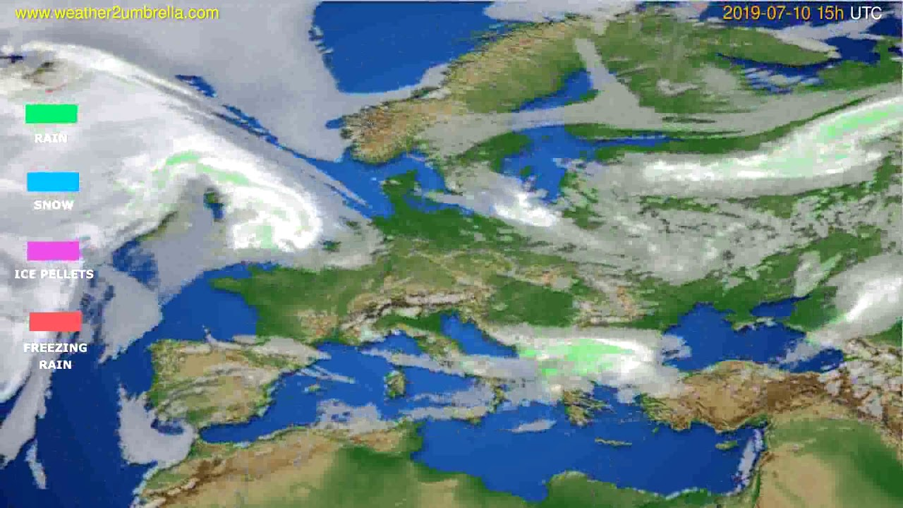 Precipitation forecast Europe // modelrun: 12h UTC 2019-07-07