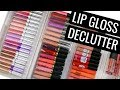 MAKEUP DECLUTTER 2018! CUTTING MY LIP GLOSS COLLECTION IN HALF