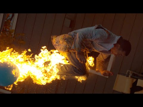 The Slow Mo Guys Firebreathing Backflip with
