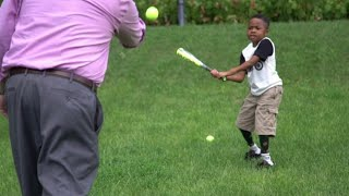 Zion Harvey, the 10-year-old who made history as the first child to have a double hand transplant, has achieved his dream of swinging a baseball bat. Report by Nikhita Chulani.