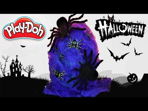 Huevo Sorpresa Gigante de Arañas de Halloween de Plastilina Play doh en Español Tela de araña Morada