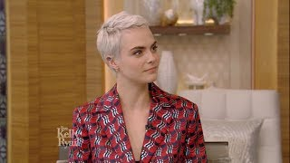 Cara Delevingne talks about cutting her hair short for a movie.