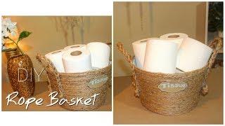DIY Dollar Tree Rope Basket | Bathroom Organization | Tissue Holder || Chanelle Novosey