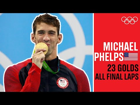 Every Michael Phelps 🇺🇸gold medal final lap!