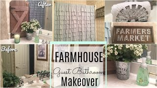 BATHROOM MAKEOVER | DOLLAR TREE DIY | Farmhouse Guest Bath