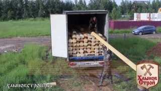 Строительство деревянной бани из оцилиндрованного бревна, видео-отчет - Хлыновстрой