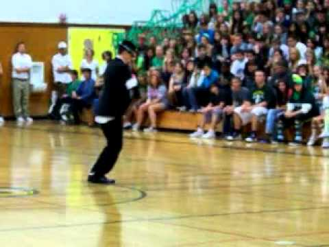 Impersonating the performance of  Michael Jackson's Dangerous - High School Rally