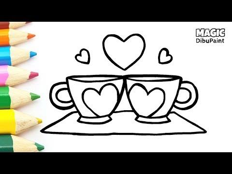 Dibujos de amor - Dibujos para Dibujar en San Valentín  Dibujos de Corazones  Tazas de amor