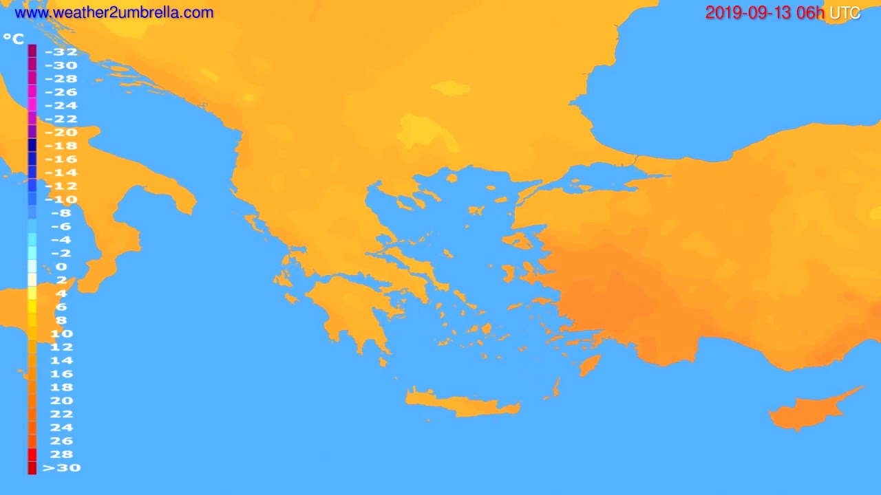 Temperature forecast Greece // modelrun: 00h UTC 2019-09-11