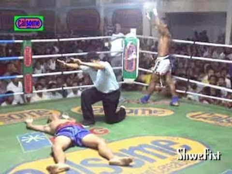 Friendship fight, Myanmar Lethwei(Saw Shark) vs. Muay Thai(KiTi Ku)