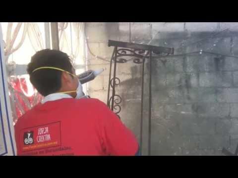 pintura al horno - Instalacion de protecciones en hierro forjado www.ForjaCreativa.com.mx Puebla,Mexico Puertas portones rejas y muebles en hierro forjado. En hierro forjado , ...