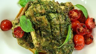 Learn How To Make Pesto Chicken Recipe, an Italian Style Grilled Chicken recipe from Chef Varun Inamdar. Make this delicious Italian Chicken Recipe in a simple, quick and easy method, at your home and share your experience with us in the comments below.Ingredients:-For pesto sauce:-2 cups packed fresh Basil leaves4 cloves of Garlic, peeled¼ cup Pine nuts/Cashew nuts⅔ cup Extra-virgin olive oil, dividedSalt and freshly ground black pepper, to taste½ cup freshly grated Pecorino/ Parmesan cheeseSalt to taste12-15 strips Chicken breast, bonelessCherry tomatoesFresh basil leaves for garnishMethod:-The Pesto Sauce:-- Grind basil leaves, garlic, cashew nuts, parmesan cheese, salt, pepper and olive oil to a fine paste.The Marination:-- In a bowl add the chicken, pesto sauce, salt, olive oil and mix thoroughly. Let it marinate for a minimum of 30 minutes.The Cooking:-- In a pan heat oil and place the gashed side of the chicken on the pan and sear on high flame for 2 minutes.- Flip the chicken pieces and sear for 2 minutes basting it with the pesto sauce.- Lower the flame, tilt the pan and pour the accumulated oil on the chicken pieces.- Cover with the lid and cook on low flame for 10-12 minutes OR bake in the oven at  200°C for 12 minutes.- Cut the cherry tomatoes into halves and saute the tomatoes in the same pan by tilting it on high flame.- Serve with sauteed cherry tomatoes and garnish with basil leaves.Italian Style Grilled Pesto Chicken is ready to eat! HAPPY COOKING!!!Checkout Varun's Pesto Pasta recipe by clicking on this link:- https://www.youtube.com/watch?v=HU_CNivkxawHost: Varun InamdarDirector: Vaibhav DhandhaCamera: Kavaldeep Singh Jangwal, Pratik Gamre, Akshay Sawant, Spandan RoutEditing: Dinesh ShettyProducer: Rajjat A. BarjatyaCopyrights: Rajshri Entertainment Pvt LtdSubscribe and Get regular Updates: http://www.youtube.com/user/getcurried?sub_confirmation=1https://www.facebook.com/GetCurriedhttps://plus.google.com/+getcurriedhttps://twitter.com/Get_Curriedh
