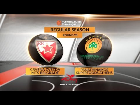 EuroLeague Highlights RS Round 20: Zrvena Zvezda mts Belgrade 72-66 Panathinaikos Superfoods Athens
