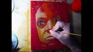 Patton Oswalt time-lapse portrait painting (2008)