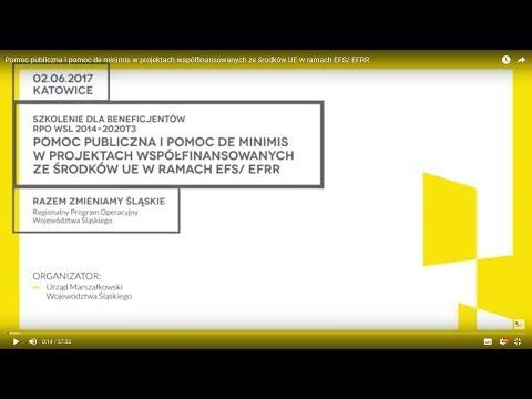 Pomoc publiczna i pomoc de minimis w projektach współfinansowanych ze środków UE w ramach EFS/ EFRR
