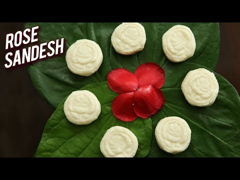 Rose Sandesh – How To Make Sandesh – Indian Dessert Recipe – Bengali Sweet Sondesh Recipe – Ruchi