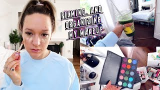 filming, cleaning, and organizing my makeup!! by Alisha Marie Vlogs