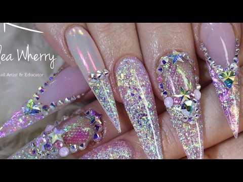 Pink Unicorn Acrylic Nails