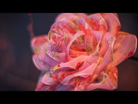 Цветок из тонкой ленты своими руками