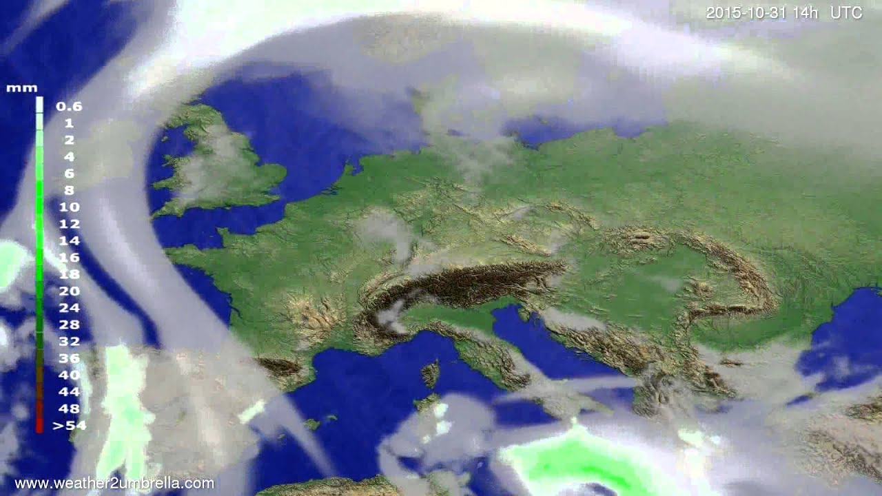 Precipitation forecast Europe 2015-10-27