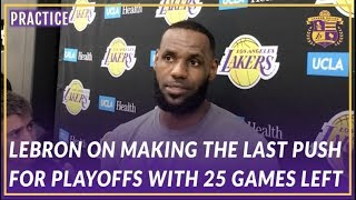 Lakers Interview: LeBron on  Making A Push For Playoffs and How He likes Feeling Uncomfortable by Lakers Nation