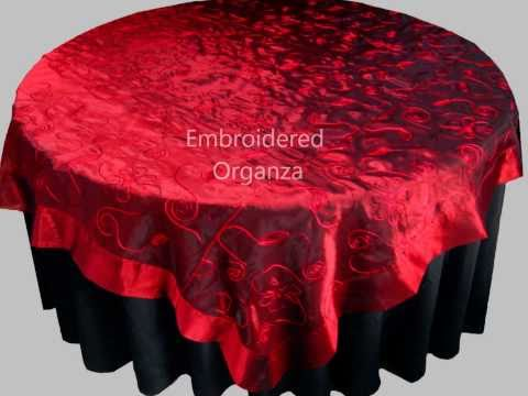 ORGANZA TABLECLOTHS - CRUSHED ORGANZA TABLE OVERLAYS / TOPPERS - EMBROIDERED ORGANZA FABRIC