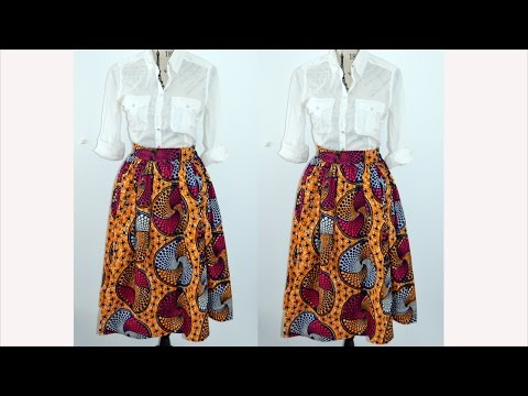 DIY  How  To Make A  Gathered Mid Skirt ( Easy Sewing)