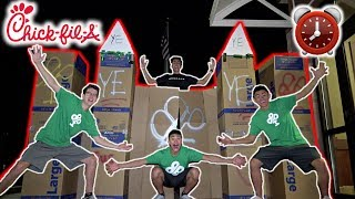 The Ireland Boys stayed OVERNIGHT In the World's Biggest CARDBOARD CASTLE Outside of Chick-Fil-A! Everyone wanted 24 ...