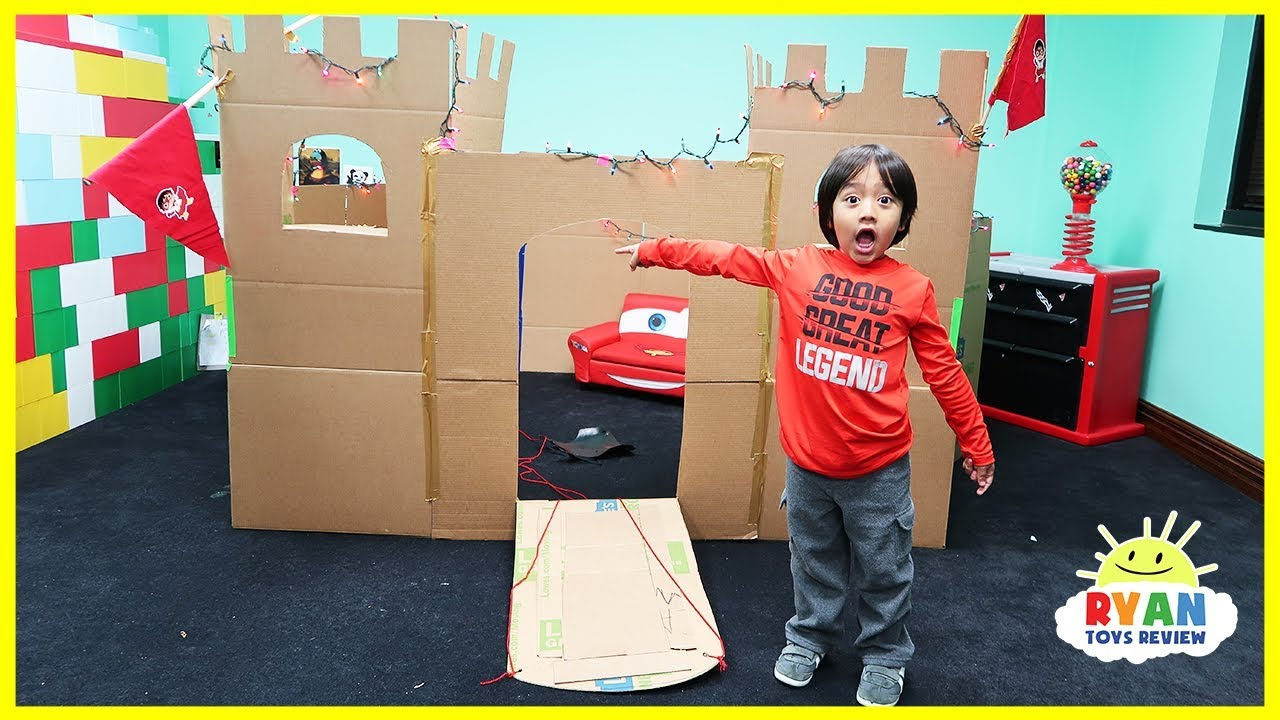 Giant Castle Box Fort Challenge from Cardboard with Ryan ToysReview - YouTube