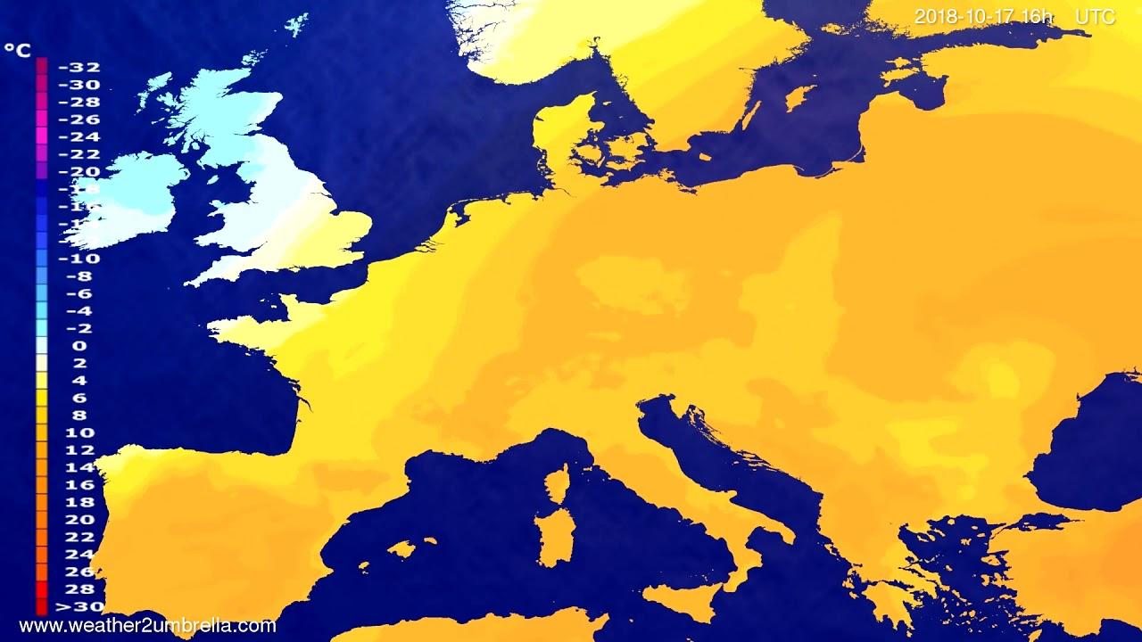 Temperature forecast Europe 2018-10-13