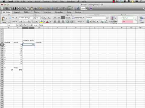 Statistics in Education for Mere Mortals: Computing a Standard Deviation with Excel