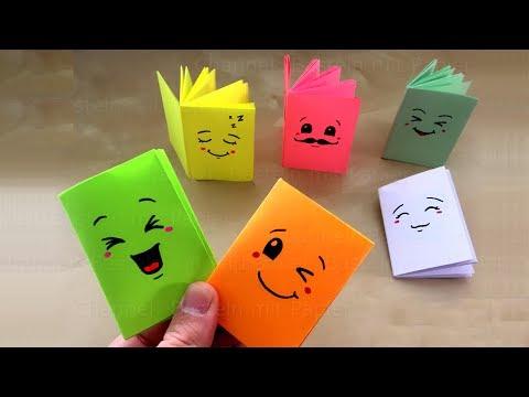DIY Mini-Notizbuch basteln mit Papier: Heft für Schule: Back to school. Origami Bastelideen. Emoji