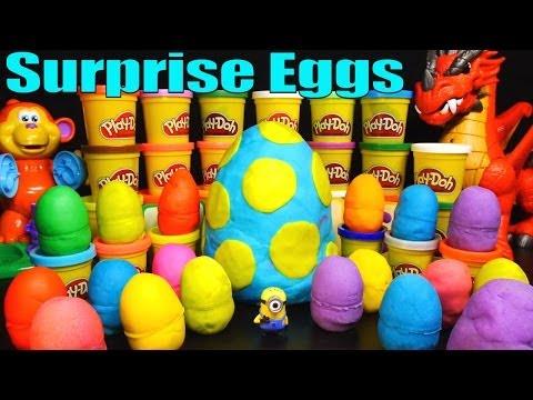 20 Surprise Eggs Play Doh Kinder Surprise Egg Toys Disney Cars Angry Birds Despicable Me Spongebob