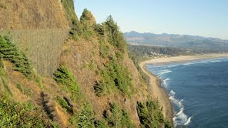 This video is from the Nehalem Bay Oregon viewpoint looking south over Nehalem Bay and of a stone bridge built on the steep ...