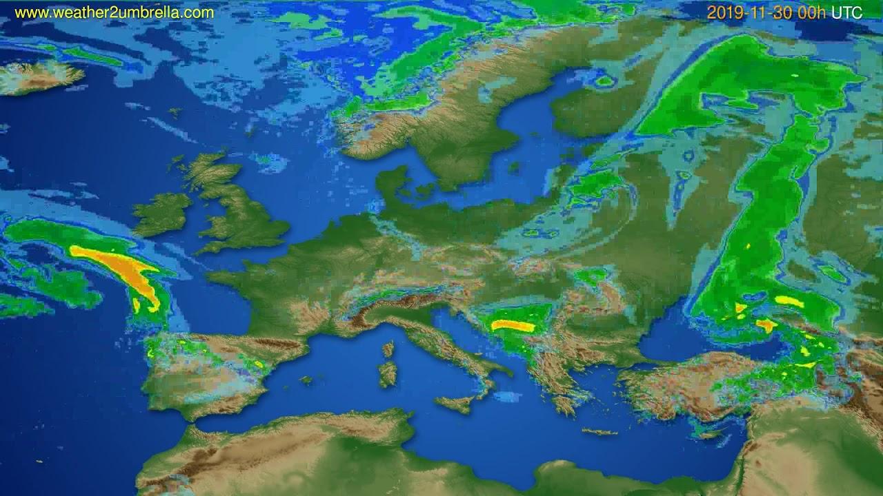 Radar forecast Europe // modelrun: 12h UTC 2019-11-29
