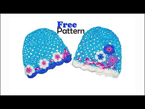 Free Pattern Crochet Baby Mesh Hat, tutorial