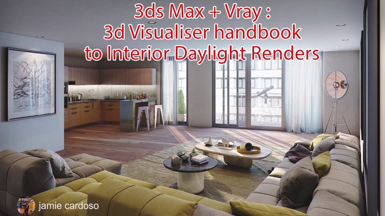 video/rendering interior day light 3ds max tutorial