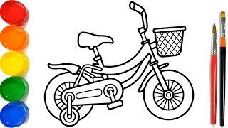 Glitter Bicycle Coloring Pages For Kids | Sepeda Halaman Mewarnai | Como desenhar Bicicleta