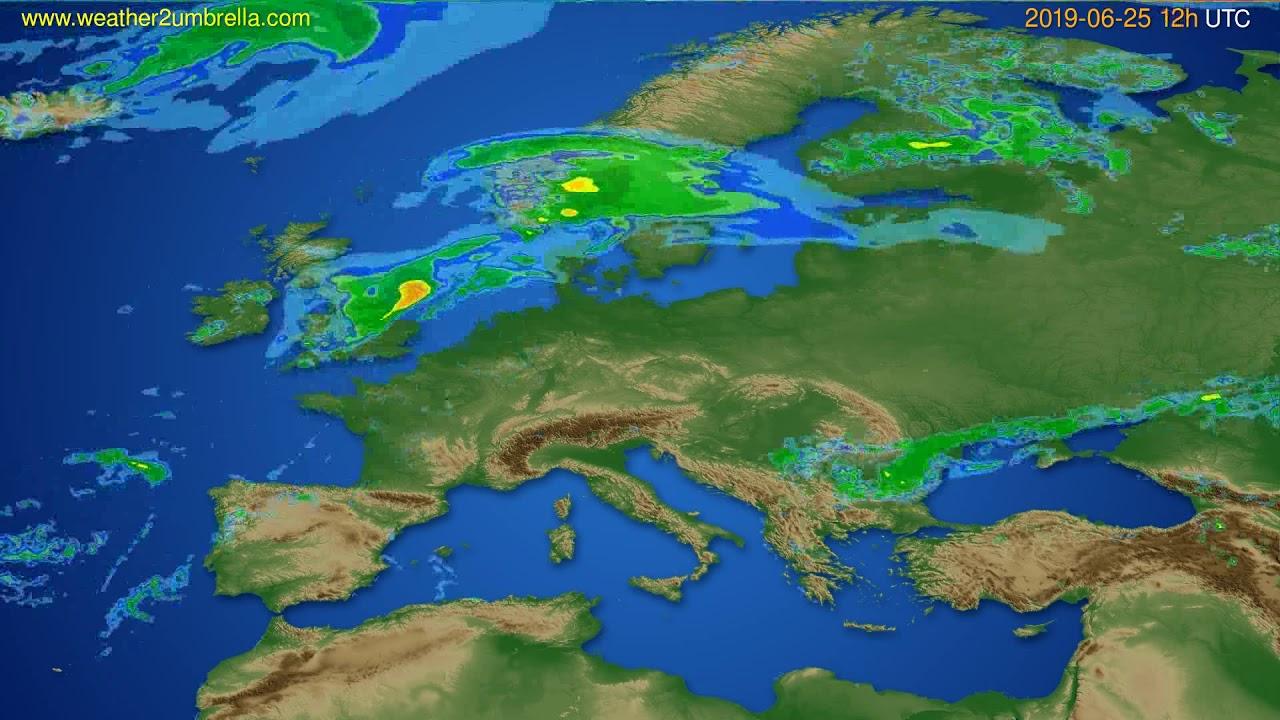Radar forecast Europe // modelrun: 00h UTC 2019-06-25