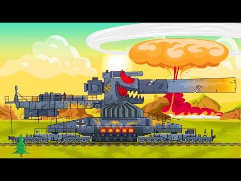 Super tanque VS enemigos. Dibujos animados de tanques. Coches monstruos dibujos animados.