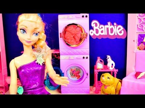 Barbie Glam Laundry Frozen Princess Anna and Elsa Wash Littlest Pet Shop Play Doh Toys Videos (видео)