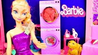 Barbie Glam Laundry with Disney Frozen Elsa and Anna Littlest Pet Shop Play Doh Video. Can Princess Anna put her Littlest Pet Shop Pet into the Washer and Dr...