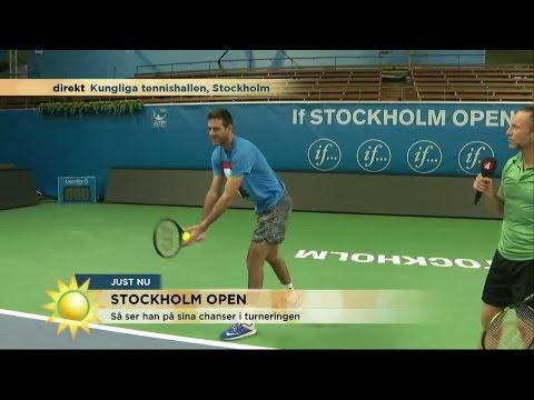 Här tränar Peter serven med tennisproffset  - Nyhetsmorgon (TV4)