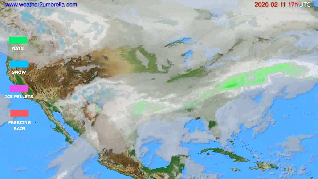 Precipitation forecast USA & Canada // modelrun: 12h UTC 2020-02-10