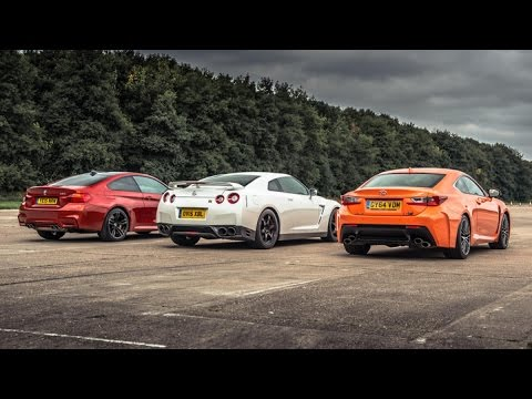 drag race: bmw m4 vs lexus rc-f vs nissan gt-r