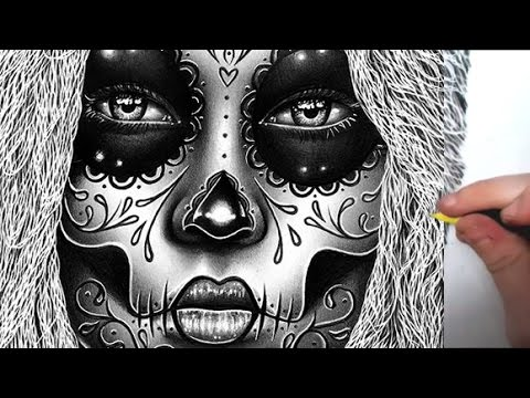 Pencil Drawing - Semi Realistic Sugar Skull Girl Portrait Time Lapse