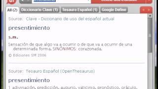 Descarga gratis esta aplicación en http://www.semantix.com/es_es/nuevo-dixio-desktop/ Source: Tesauro Español (OpenThesaurus) presentimiento 1 adivinación, p...