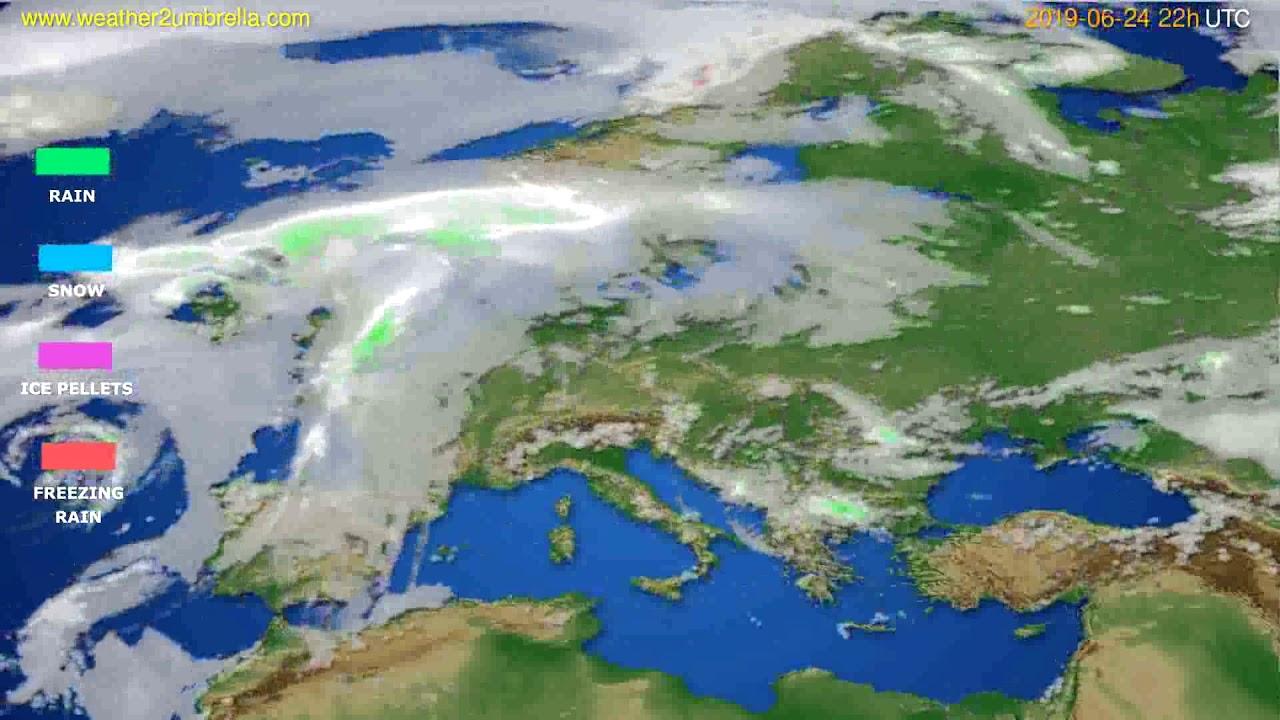 Precipitation forecast Europe // modelrun: 00h UTC 2019-06-22