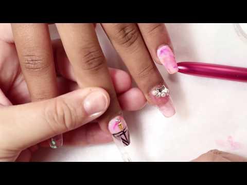 Uñas acrilicas - Uñas acrílicas paso a paso/ Diseño marble y efecto galáctic