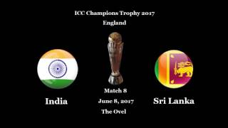 ICC Champions Trophy 2017 Schedule.  india pakistan england australia new zeland south africa srilanka west indies.  all matches schedule of champions trophy 2017